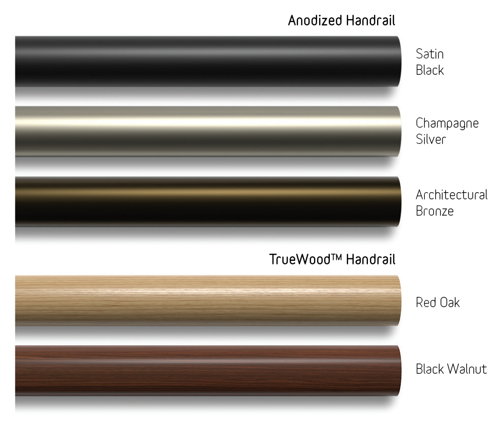 Anodized & Truewood Handrail Colors